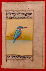 Hand-Painted-KingFisher-Bird-Birds-Miniature-Painting-India-Art-Nature-Old-Paper