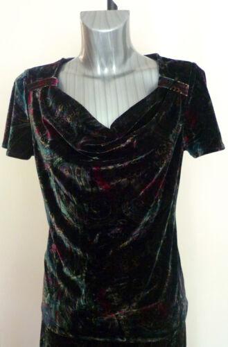 Ladies M/&S Portfolio Rich Paisley Velvet Short Sleeve Top New