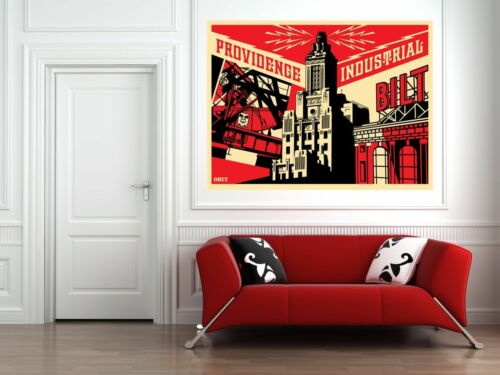 Providence Industrial RED Print Obey Giant 36 x 24  Shepard Fairey Canvas Print