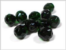10 böhmische Glasperlen facettiert 10mm dunkelgrün Perlen