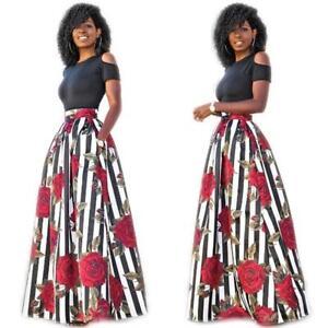 00e7c462d5ce 2 pcs Set African Womens Fashion Print Dashiki Crop Tops + Long ...