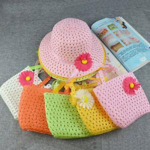 Baby-Girls-Fashion-Summer-Beach-Sun-Flower-Straw-Wide-Brim-Hat-Cap-Tote-Bag-Set