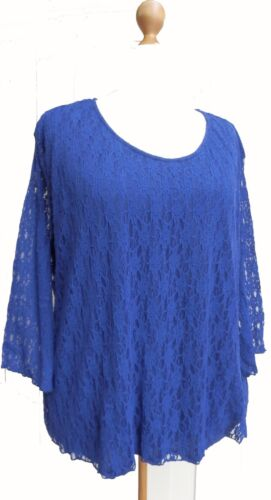 EaonPlus Blue Lace Lined Top Sizes 26 /& 28