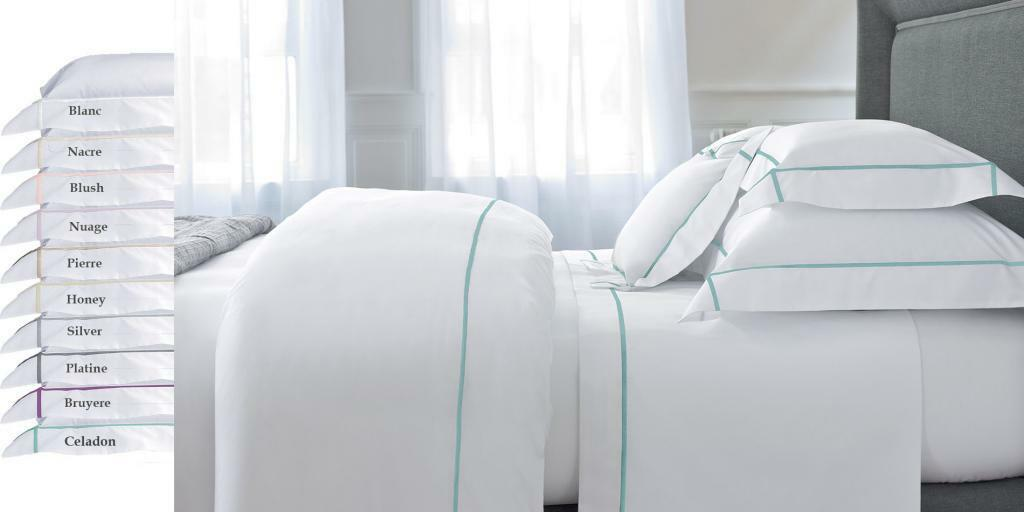 FRANCE YVES DELORME ATHENA COTTON PERCALE FLAT SHEET WITH FarbeFUL STITCH