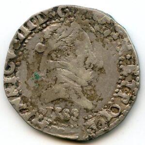 Henri III (1574-1589) 1/2 Franc Flat Collar Flat 1588 K Bordeaux