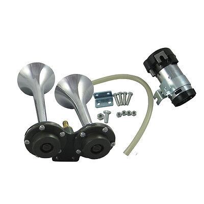 12V Black 150db Air Horn Trumpet Train Car Boat RV Super-loud Horn w//Compressor