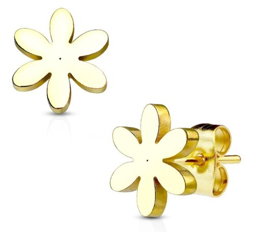 Daisy Flor Aretes-Hipoalergénico 316L Acero-Oro o Plata en Caja
