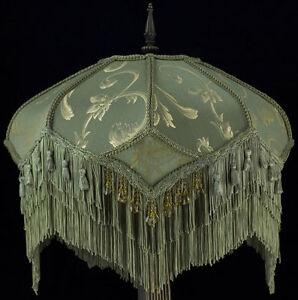Victorian Lampshade Sage Gold Silk, Victorian Lamp Shade Beaded Fringe