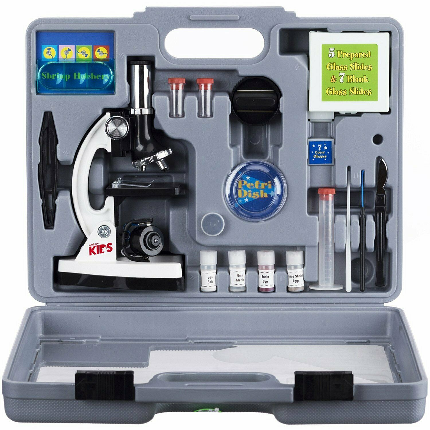 AmScope 52pc 120X-1200X Starter Compound Microscope Science Kit for Kids (Weiß)
