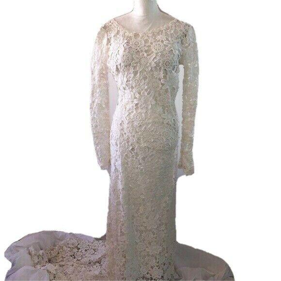 Dreamers & Lovers Clover Vintage Inspired Backless Crochet Wedding Dress White