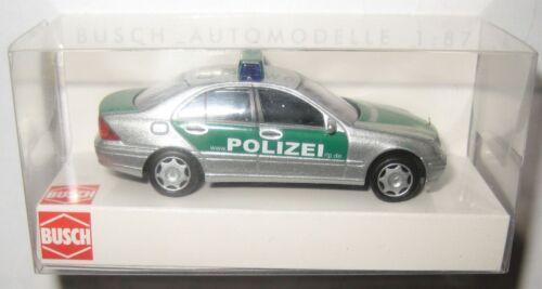 1 von 1 - Busch 49108 MB C-Klasse Limousine Polizei Rheinland-Pfalz silber/grün 1:87 HO