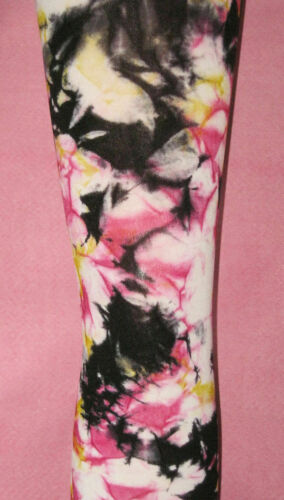 Footless pink black yellow Hippy Goth 8-12 festival Tie Dye Tights