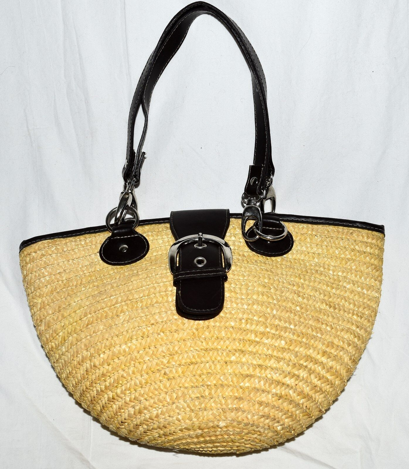 St Johns Bay Natural Wheat Straw with Brown Faux Leather Accents Shoulder Bag