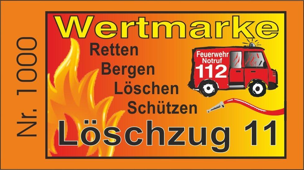 10.000 Wertmarken mit Nummerierung, Feuerwehr, Text änderbar, Rand Orange | Ausgezeichnete Qualität