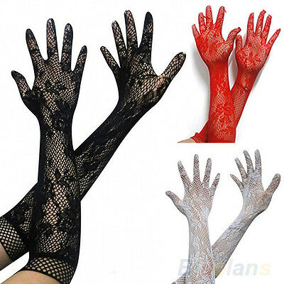 Popular Womens Sexy Stretch Lace Opear Long Length Gloves - Black White Red BD4U