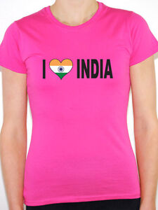 I LOVE INDIA WITH INDIAN FLAG IN A HEART SHAPE International Womens T-Shirt