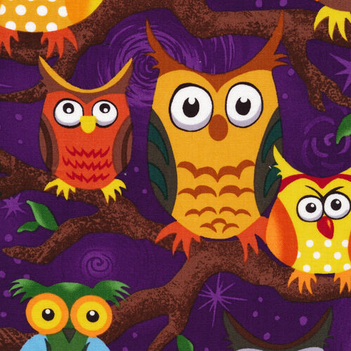 Fat Quarter Nite Owls Purple Background Cotton Quilting Fabric  50 x 55cm