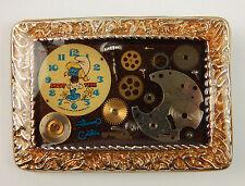 "Vintage Smurf Watch Parts Gears Laminated Belft Buckle Smurfette Gold Tone 2.75"""