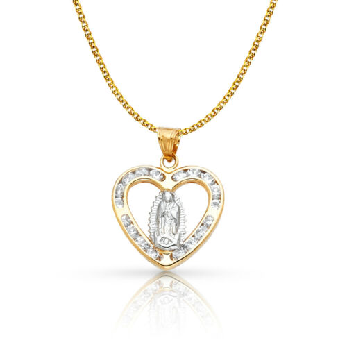 Details about  /14K Yellow Gold Guadalupe CZ Charm Pendant /&1.2mm Flat Open Wheat Chain Necklace