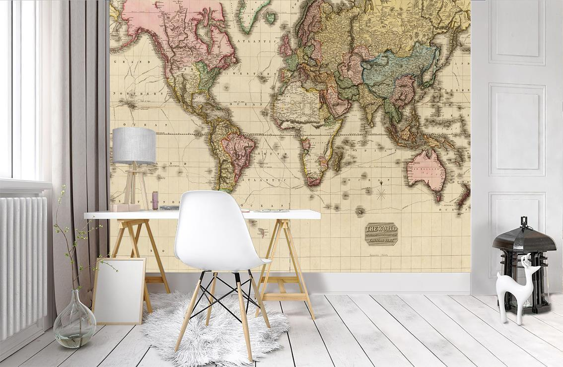 Photo Wallpaper Wall Mural Woven Self-Adhesive Art Ancient World Map M34