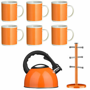 Image Is Loading Amazing New 8 Piece Orange Set Kettle Mugs