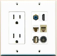 2 Gang 15A Power HDMI Cat6 RCA Blue  Phone Toslink USB Wall Plate