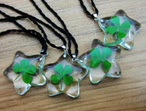 4 pcs shamrock lucid bottom five star design real four leaf clover pendant