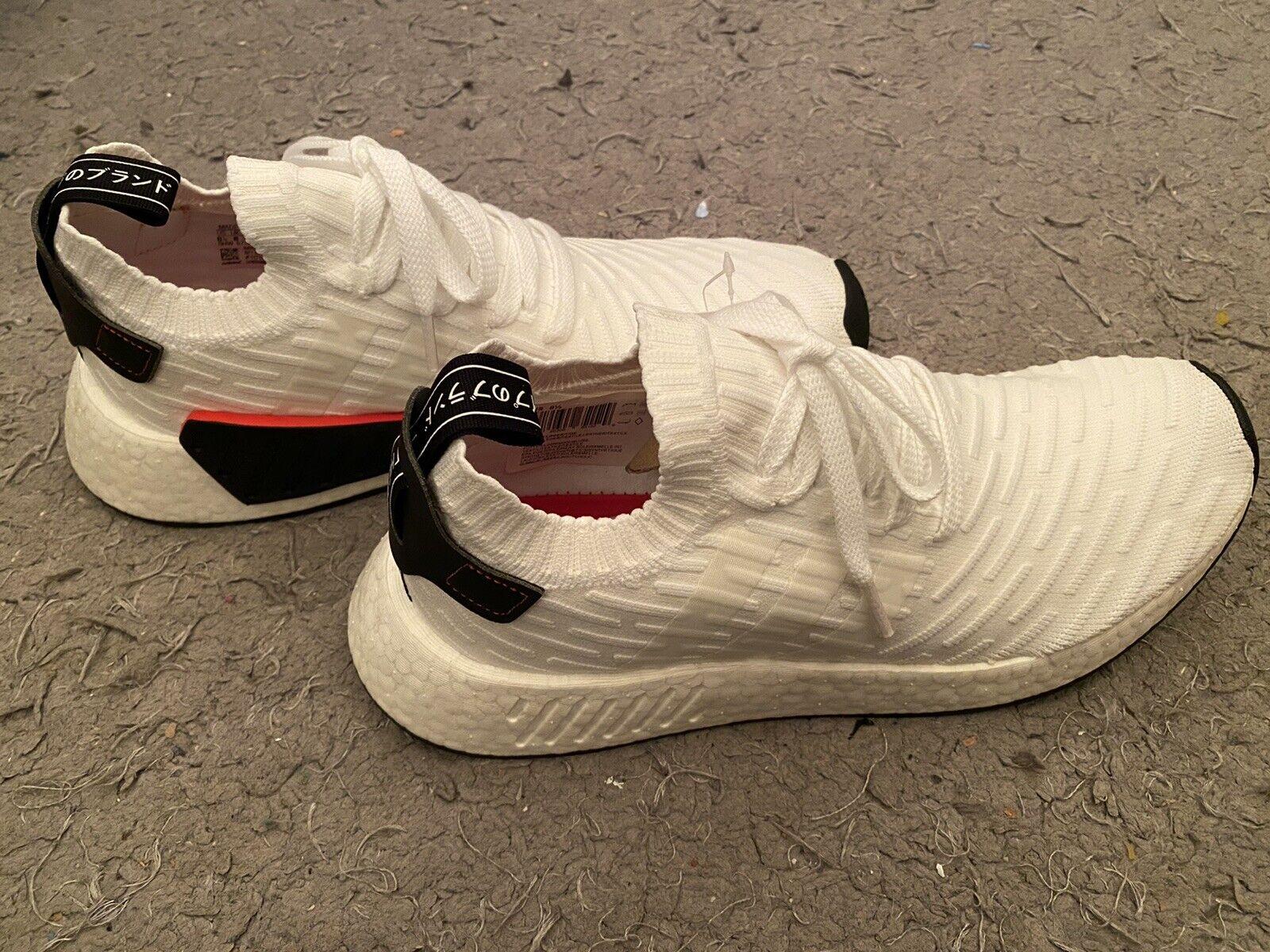 Size 8.5 - adidas NMD R2 Primeknit White Black 2017