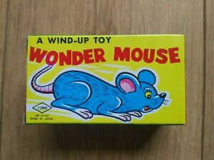 BRAND-NEW-VINTAGE-WIND-UP-TINPLATE-WONDER-MOUSE-TOY-YONE-JAPAN-1950s-60s