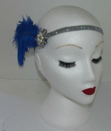 Royal Blue Silver Ostrich Feather Flapper Headpiece 1920s Vtg Headband Pearl L46