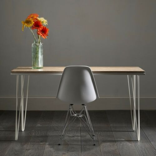 Sleek Hairpin Desk In Distressed White Oak - 3 Sizes, 10 Colours, 30 Options!