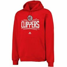 Red Adidas NBA Kids Los Angeles Clippers Fleece Crewneck Pullover Sweater