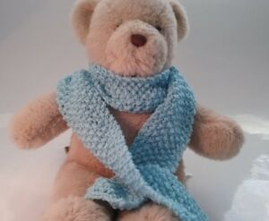 Teddy-Bear-Clothes-Handmade-Blue-Knitted-Scarf