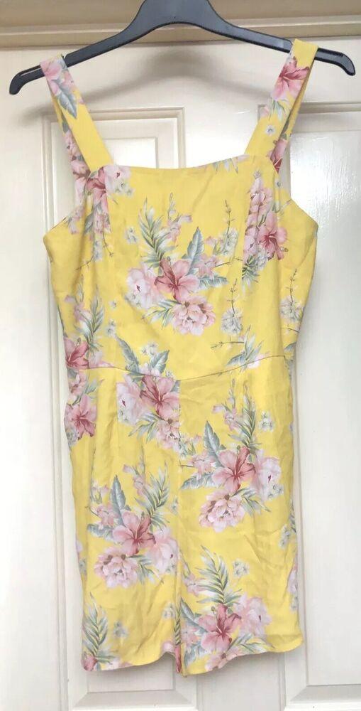 Distingué Bnwt New Look Jaune Floral Playsuit, Taille 10-très Bohème!