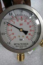 "MZ Metaltecnica Vacuum Pressure Gauge glycerine 100mm x 1/2"" BSP Slurry Tanker"