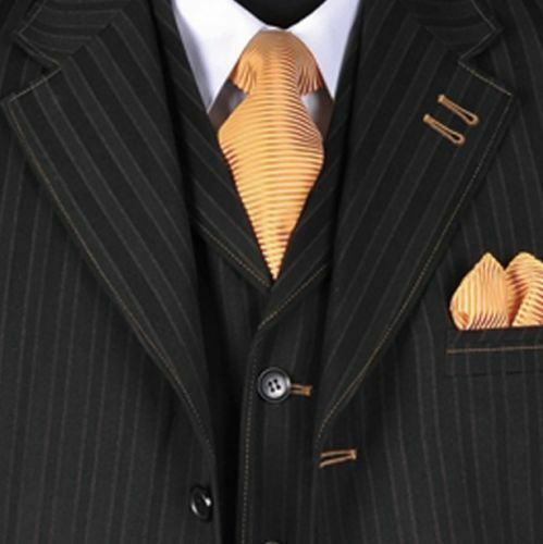 New Men/'s 3 piece Wool Feel Elegant and Classic Stripes Suit Black 5267