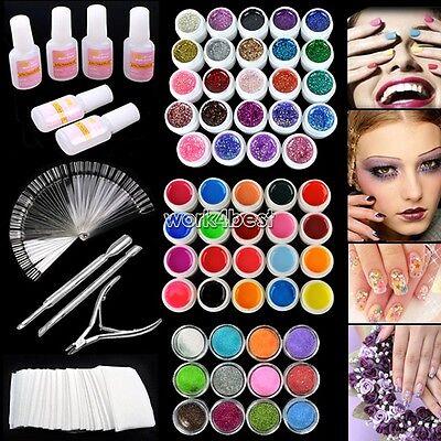 Hot sale UV Gel Nail Art Tips Tools Kits Acrylic shiny Glitter powder Polish Set