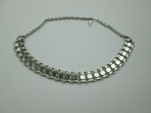 Sarah-Coventry-Signed-Choker-Necklace-Book-Chain-Link-Silver-Tone-16-1-2-034-L