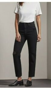 AG-Adriano-Goldschmied-Jeans-The-Phoebe-Black-Ripped-High-Waisted-Raw-Hem-30R
