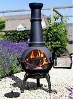 Outdoor Fire Pit Chiminea Wood Burner Rustic Heater Patio Iron Steel Fireplace