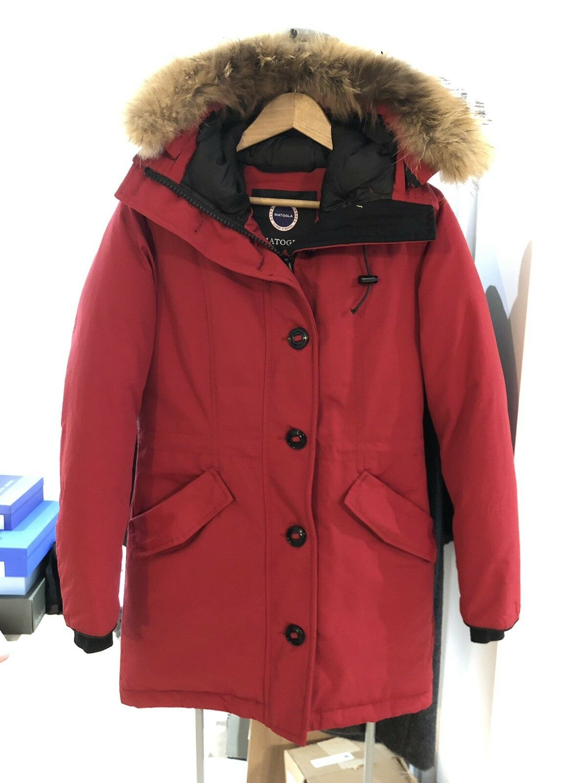 Woman Winter Warm Red Long Coat