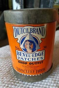 OLD-Dutch-Tire-Patch-Kit-see-my-other-porcelain-neon-sign-auctions-OIL-CAN