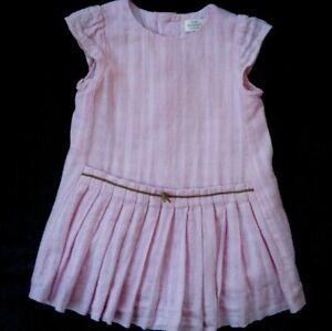 Zara Baby Girl Peach Pink Pleated Dress Size 9 12 Months Ebay