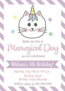 Details about unicorn cat kitten caticorn birthday party invitation party invite image is loading unicorn cat kitten caticorn birthday party invitation party filmwisefo