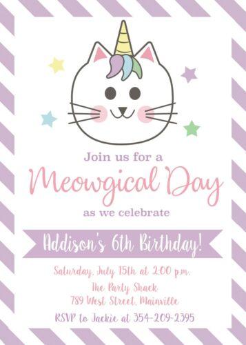 Birthday Party Invitation Invite Cat Unicorn Kitten Party Caticorn