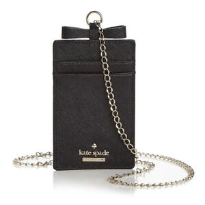 size 40 814dd 61e96 Details about Kate Spade CAMERON STREET LANYARD Bow Card Case Leather Chain  necklace ~NWT $58~