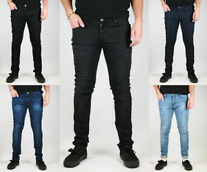 7a719aeded2 NEW MENS SKINNY STRETCH DENIM JEANS - Slim Fit in Black / Indigo ...