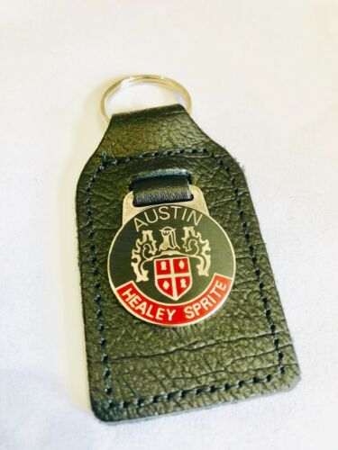 Keyfob Black//red austin healey sprite Leather Keyring