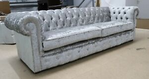 CHESTERFIELD-TUFTED-BUTTONED-4-SEATER-SOFA-SILVER-GREY-VELVET-2-CUSHION-STYLE