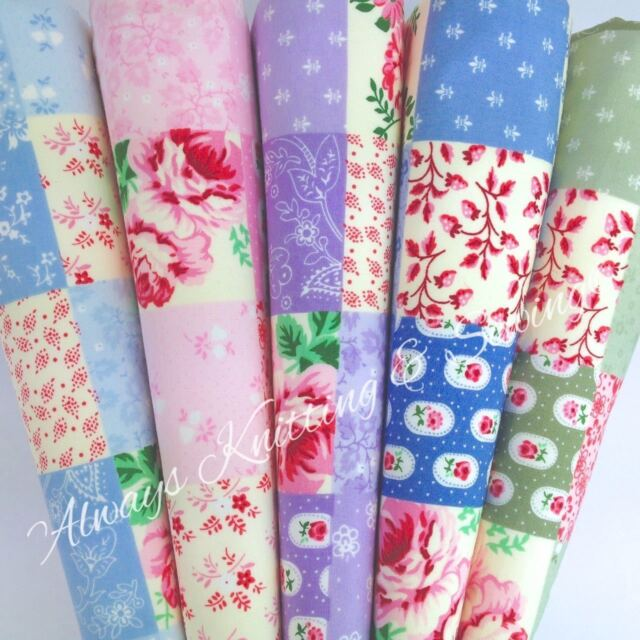 per 1/2 M /fat quarter pretty patchwork fabric pink green blue & red 100% cotton